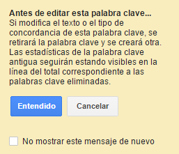advertencia google adwords