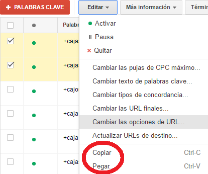 copiar y pegar en google adwords