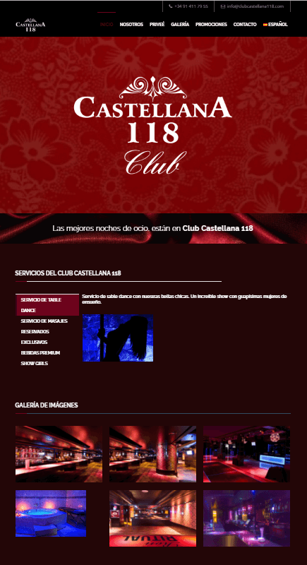 diseño web castellana 118 club
