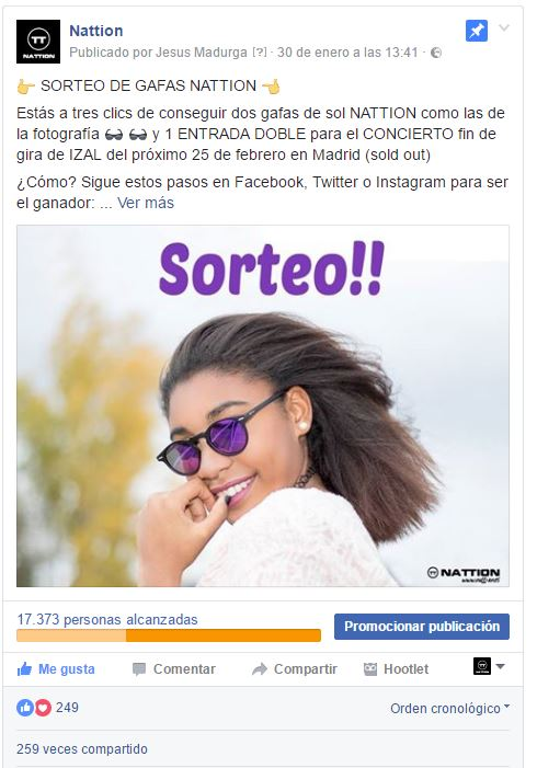 Sorteo Facebook Nattion