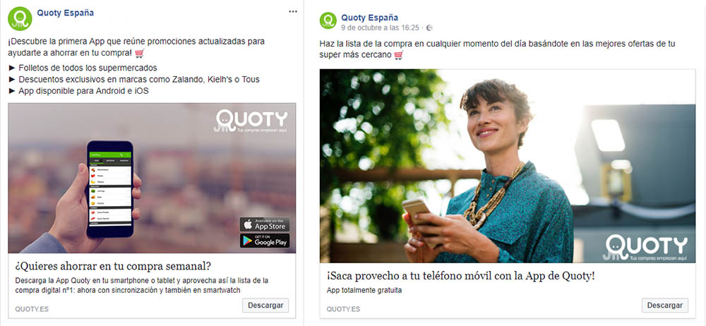 Ejemplo Facebook Quoty