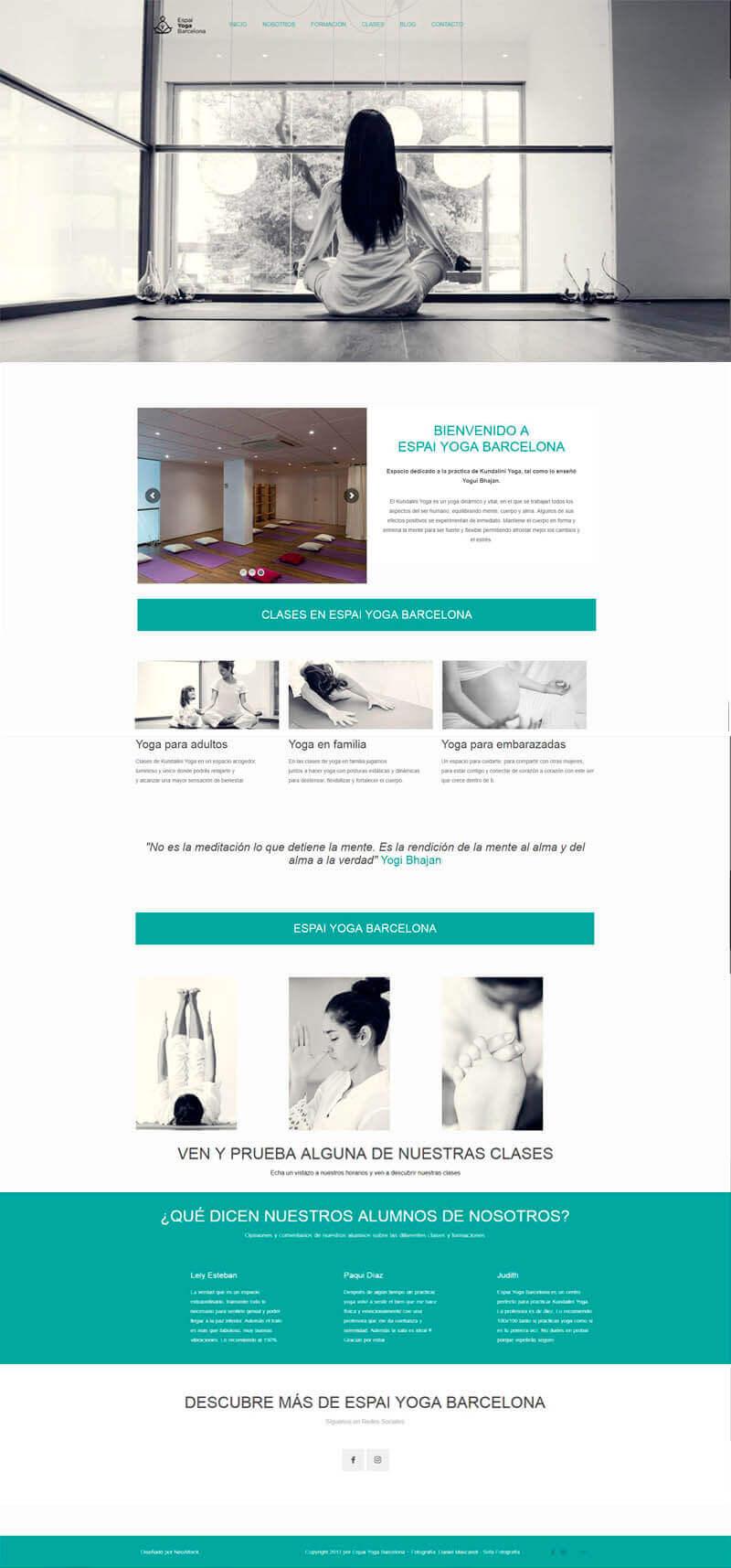 diseño web para academia de yoga