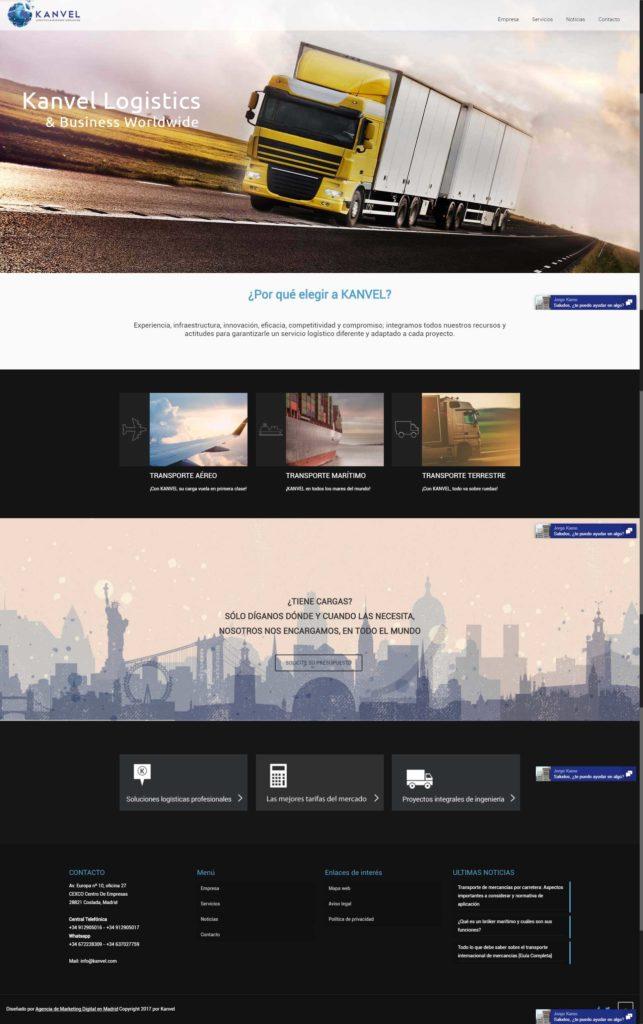Diseño web para kanvel creado por neoattack
