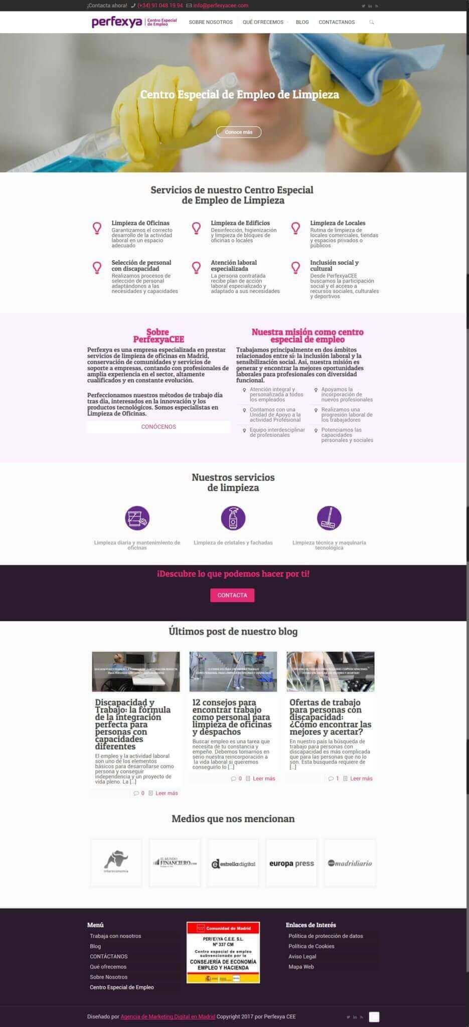 proyecto de web para perfexyacee diseñado por neoattack