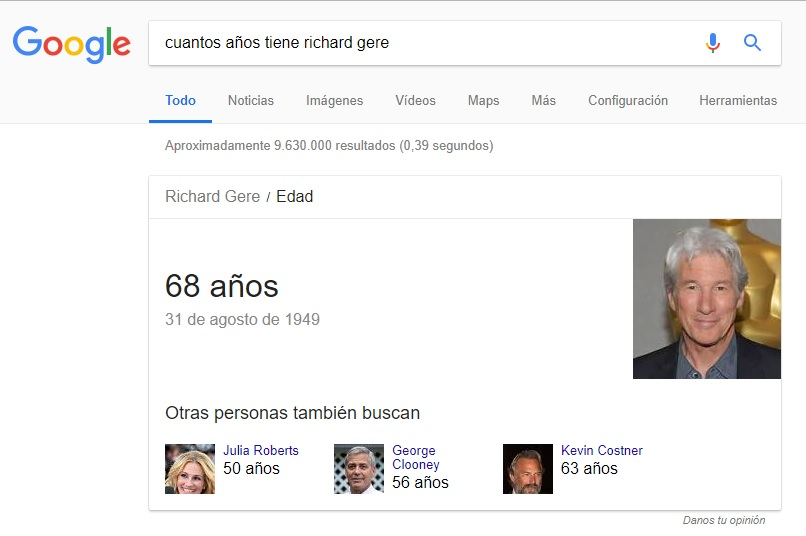 Featured Snippet Richard Gere Google