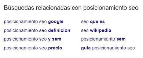 Búsquedas relacionadas posicionamiento SEO Google