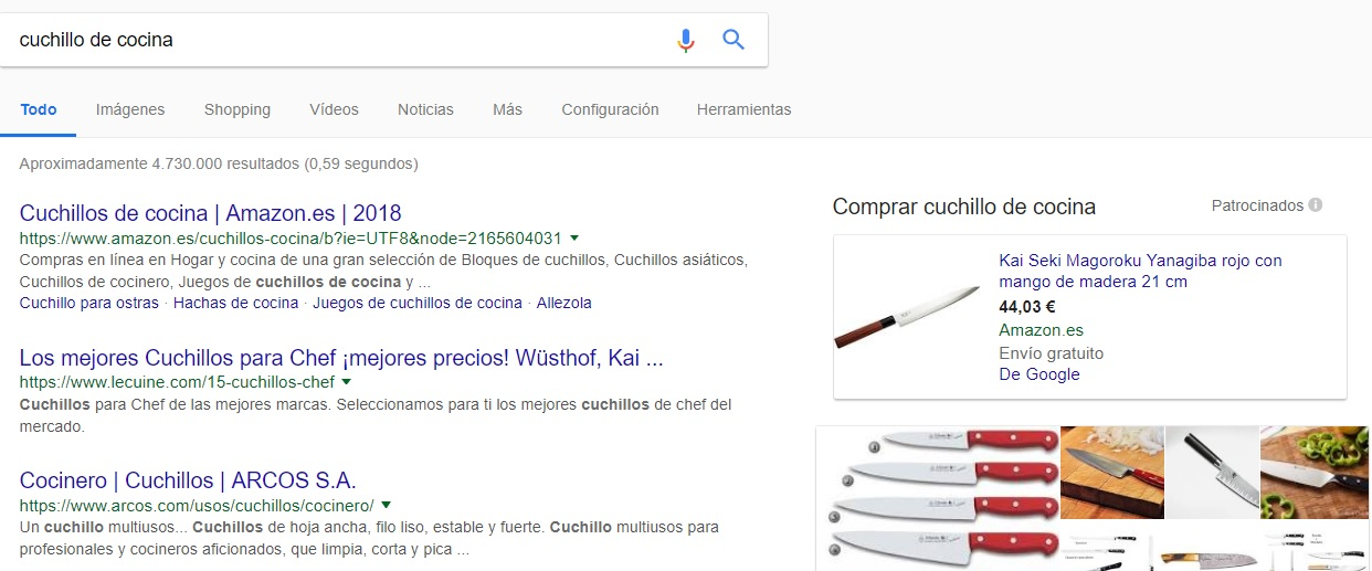 "Búsqueda ""cuchillo de cocina en Google"""