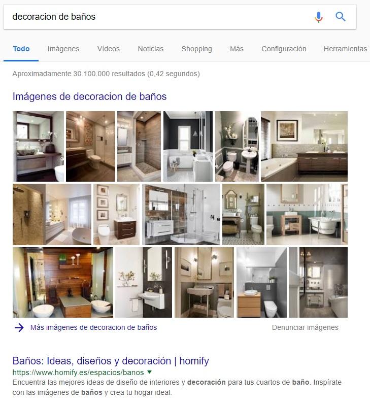 """Búsqueda """"decoración baños"""" en Google"""
