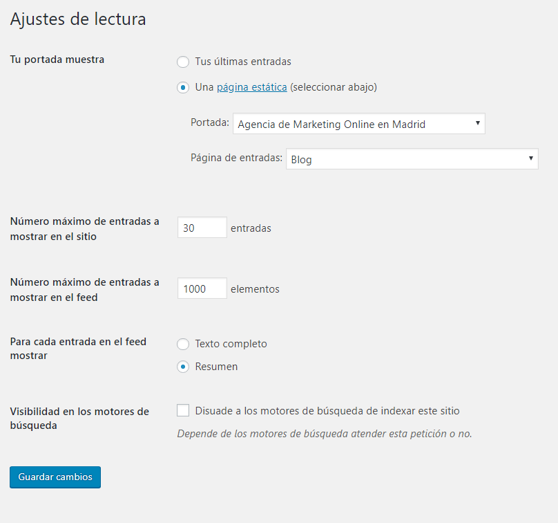 Ajustes de lectura WordPress