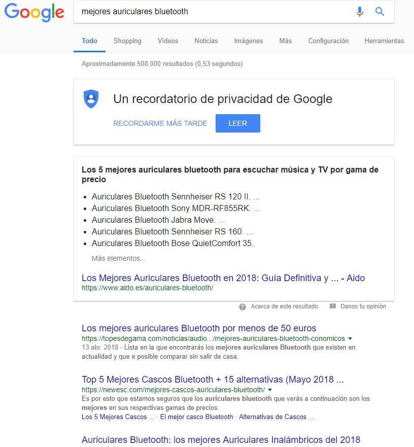 Búsqueda informativa Google