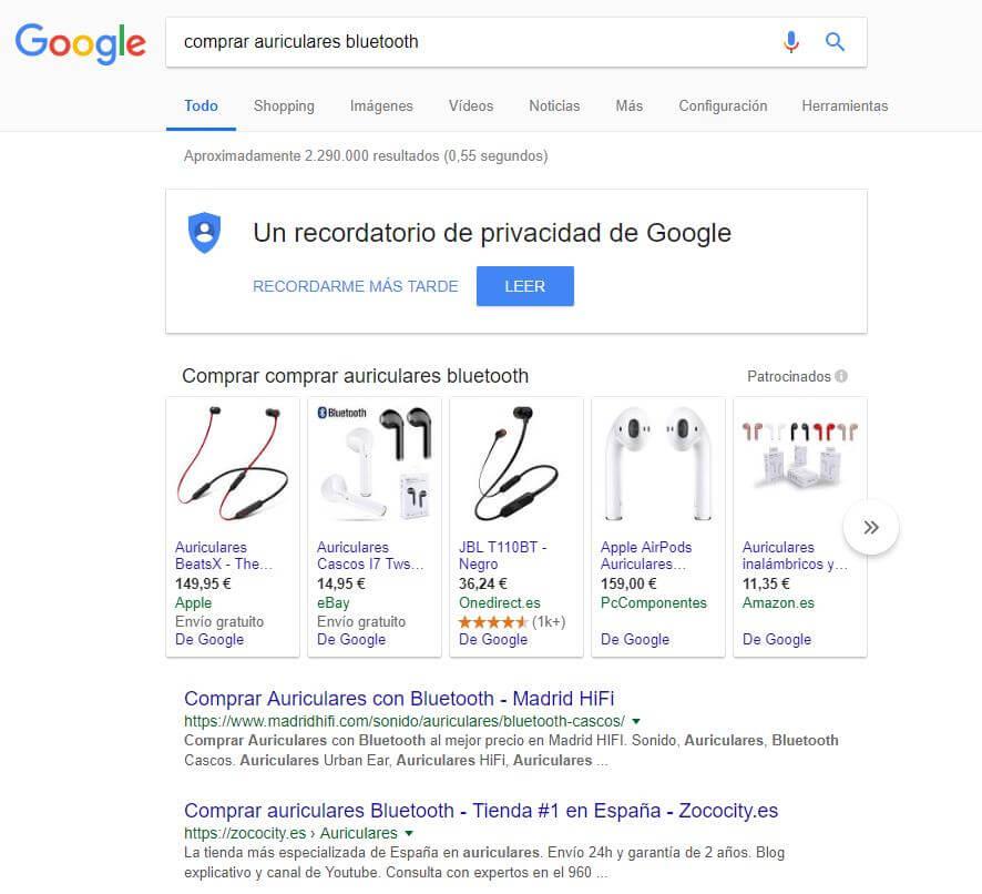 Búsqueda transaccional Google