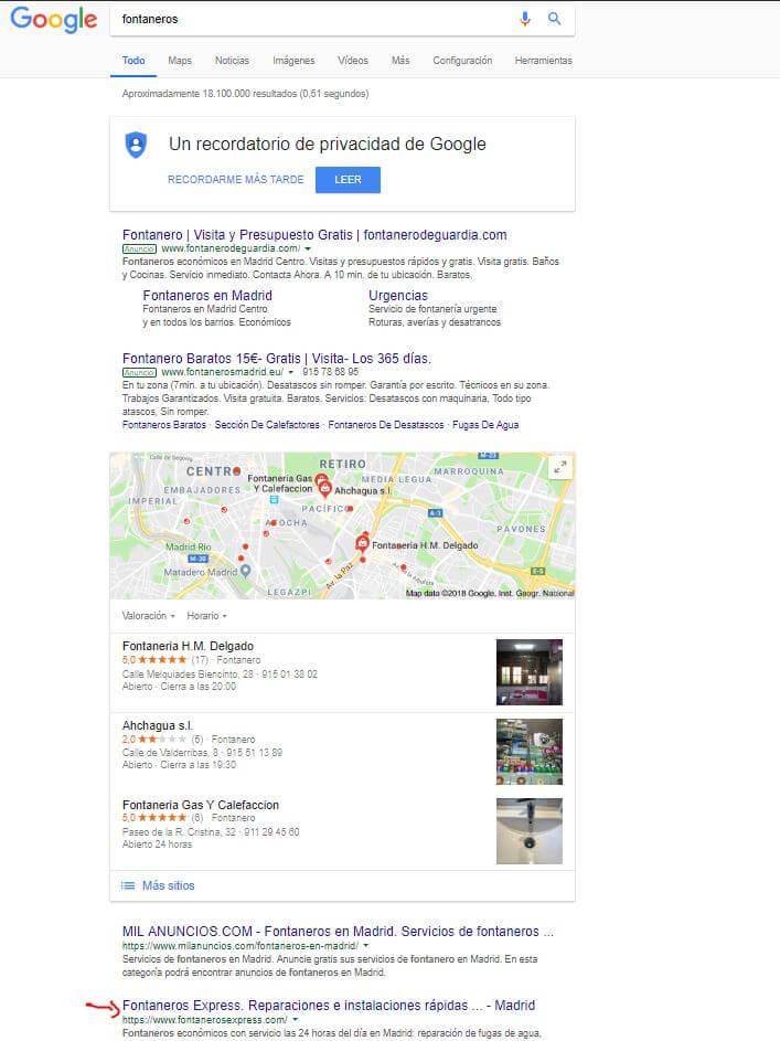 Resultados búsqueda keyword fontaneros