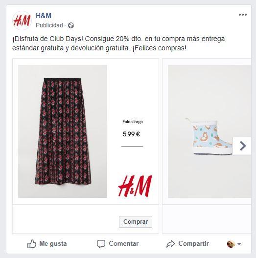 Ejemplo anuncios dinámicos en Facebook