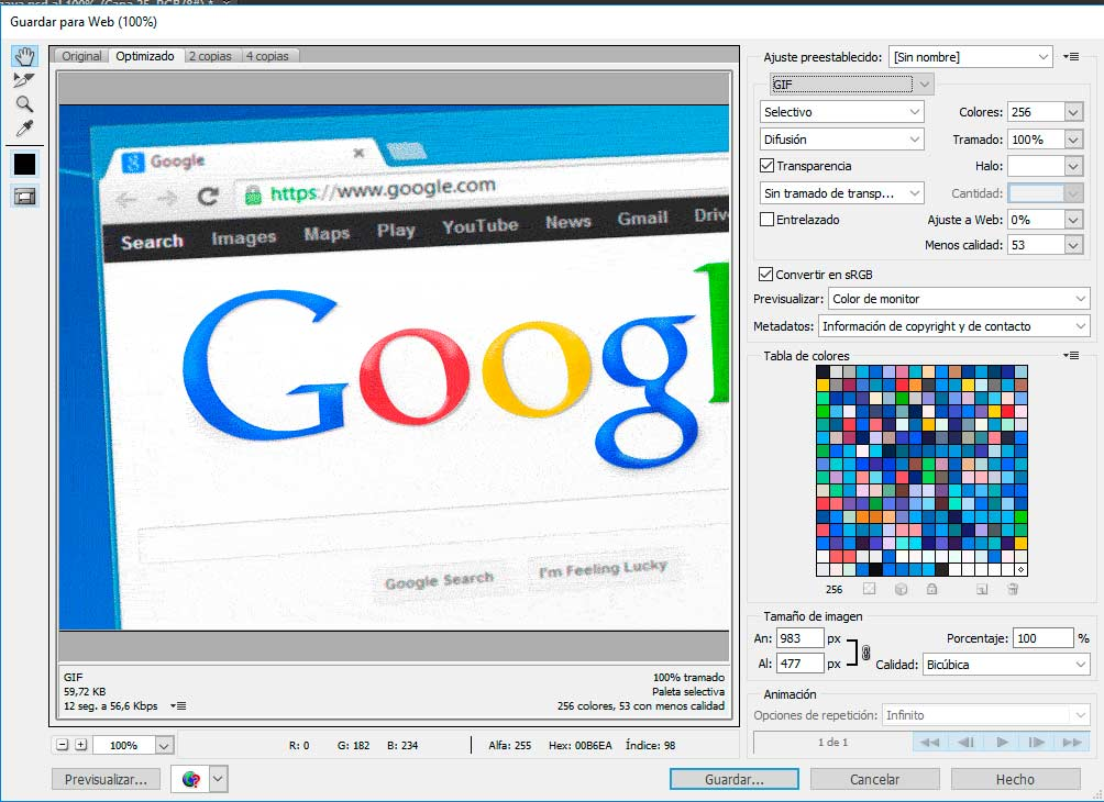 Optimizar imágenes GIF