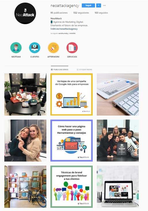 Perfil Instagram empresas de NeoAttack