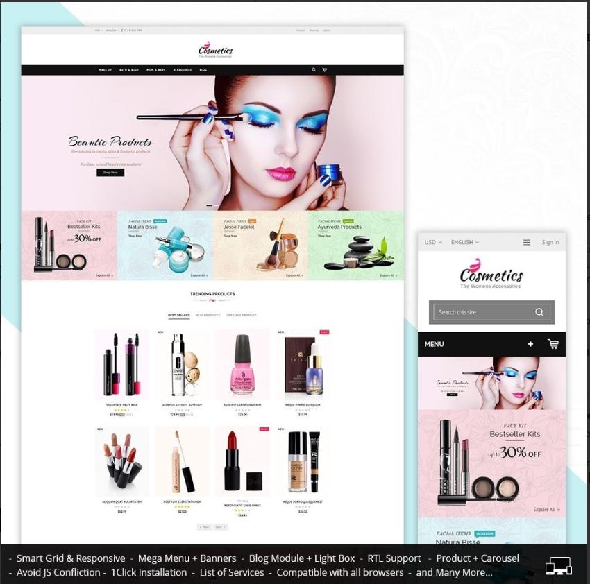 Cosmetic Store. mejores plantillas PrestaShop todo terreno