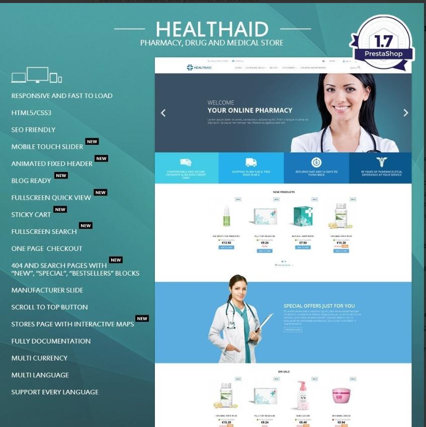 Tema HealthAid para el sector de la salud