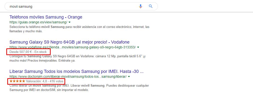Rich Snippets en Resultados SEO en Google
