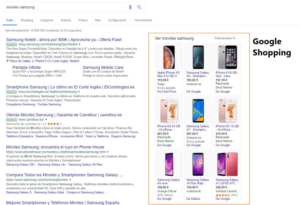 Google Shopping en buscadores
