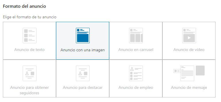 Formatos de anuncios en linkedin
