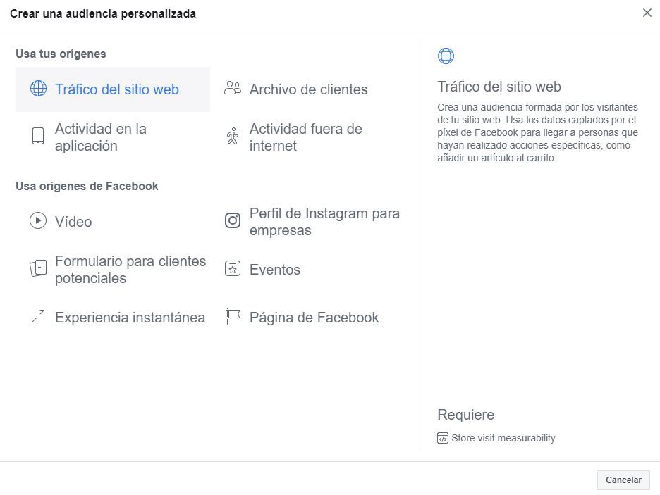 audiencia personalizada de facebook ads