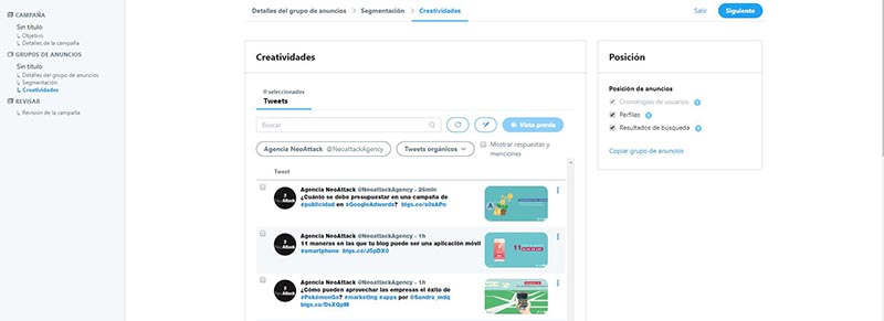 creatividades y posición twitter ads