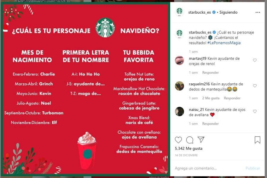 Ejemplo de acción de Starbucks en Instagram