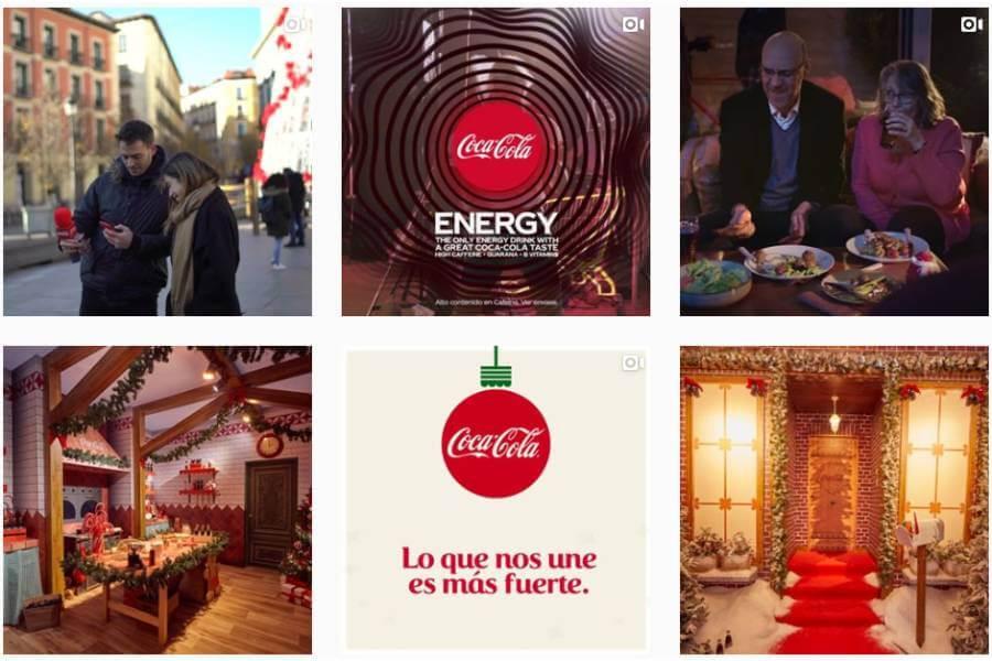 ejemplo de feed de Instagram de coca cola