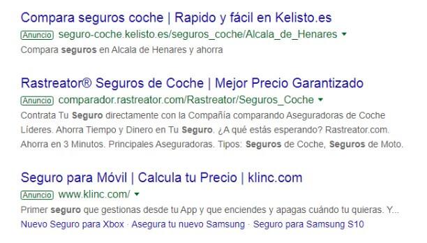 Resultados de Google AdWords